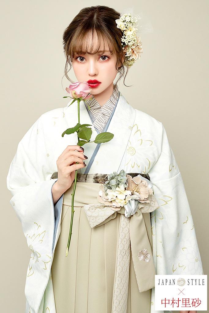 【卒業式袴レンタル/通販可】アンティーク調かわいいレトロ(JAPAN STYLE×中村里砂) 白/グレー R22012