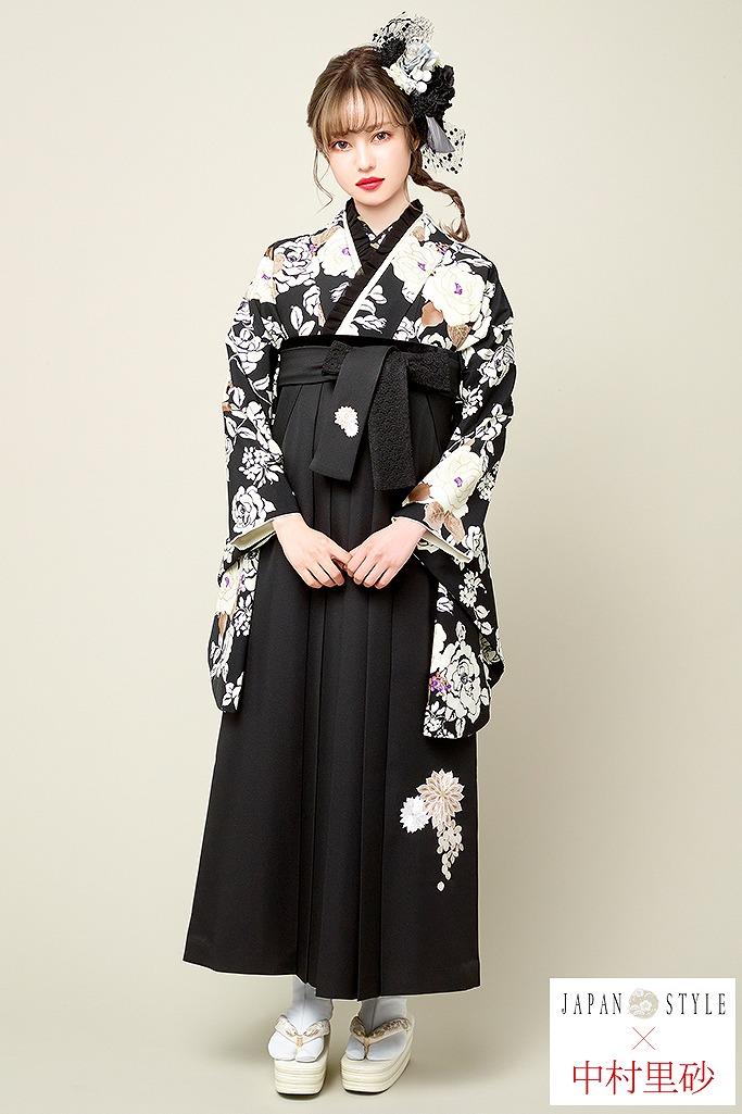 【卒業式袴レンタル/通販可】大人っぽヴィンテージレトロ(JAPAN STYLE×中村里砂) 黒/白 R22016