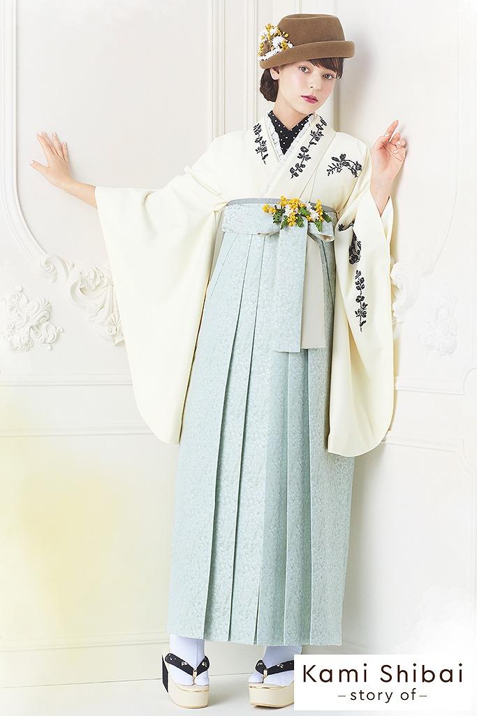 【卒業式袴レンタル/通販可】シンプルアンティーク調刺繍(kamishibai) 白/オフホワイト R22024