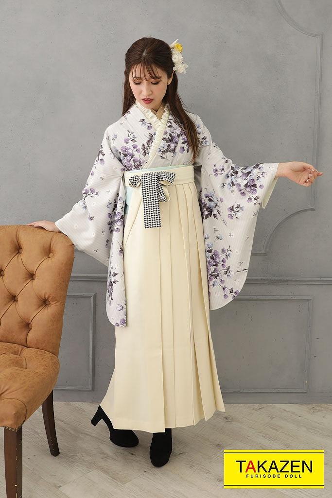 【卒業式袴レンタル/通販可】大人っぽおしゃれレトロ(kamishibai) 紫/グレー R22028