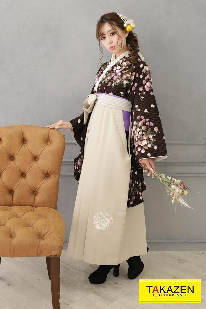 【卒業式袴レンタル/通販可】かわいいヴィンテージレトロ(kamishibai) 茶/ブラウン R22029