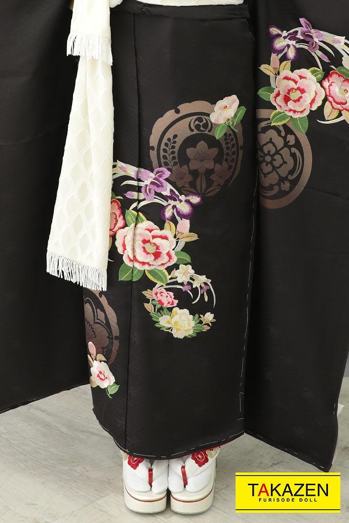 【成人式人気振袖/レンタルフルセット/通販可】大人っぽいヴィンテージレトロ(かっこいい) 黒 YK198