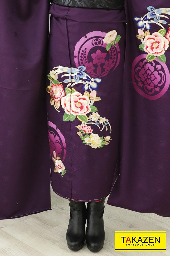 【成人式人気振袖/レンタルフルセット/通販可】個性的かっこいいアンティークレトロ(大人っぽい) パープル(紫) YK199