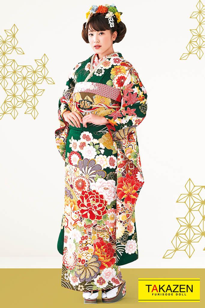 【成人式人気振袖/レンタルフルセット/通販可】上品大人っぽい古典() グリーン(緑色)/赤 #F0045