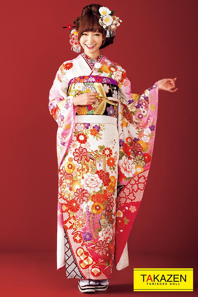 【成人式振袖/レンタルフルセット/通販可】流行りかわいい古典(清楚上品) 白/ピンク #F0055
