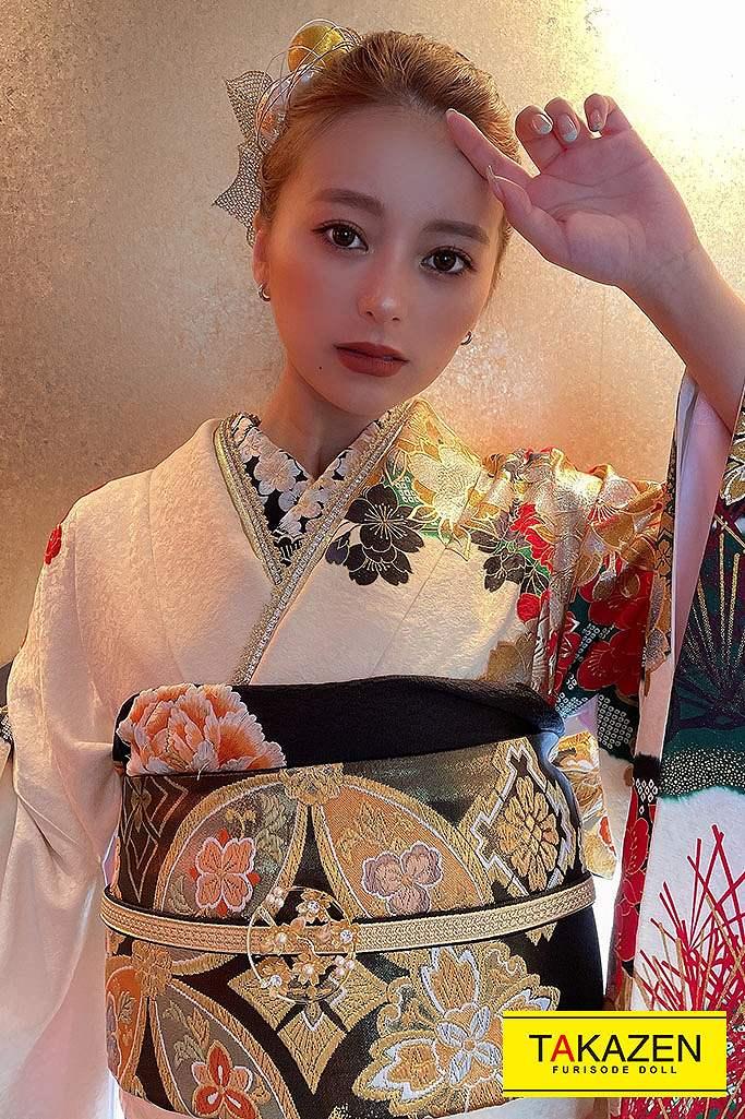 花魁風渋いサクラ柄ジャパンモード(大人気インスタグラマーUKAちゃん着用) 白/ゴールド(金色) G11
