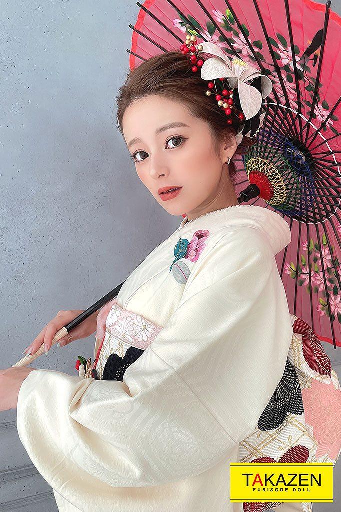【成人式振袖//通販レンタル】大人っぽいシンプルかわいいレトロ(UKAちゃん着用) 白/ピンク G13