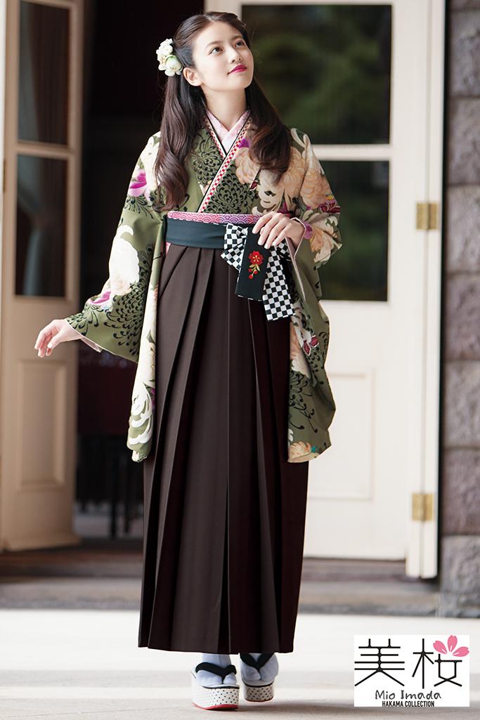 【卒業式袴レンタル/通販可】上品かわいい清楚古典(今田美桜) くすみグリーン(緑色) K22036