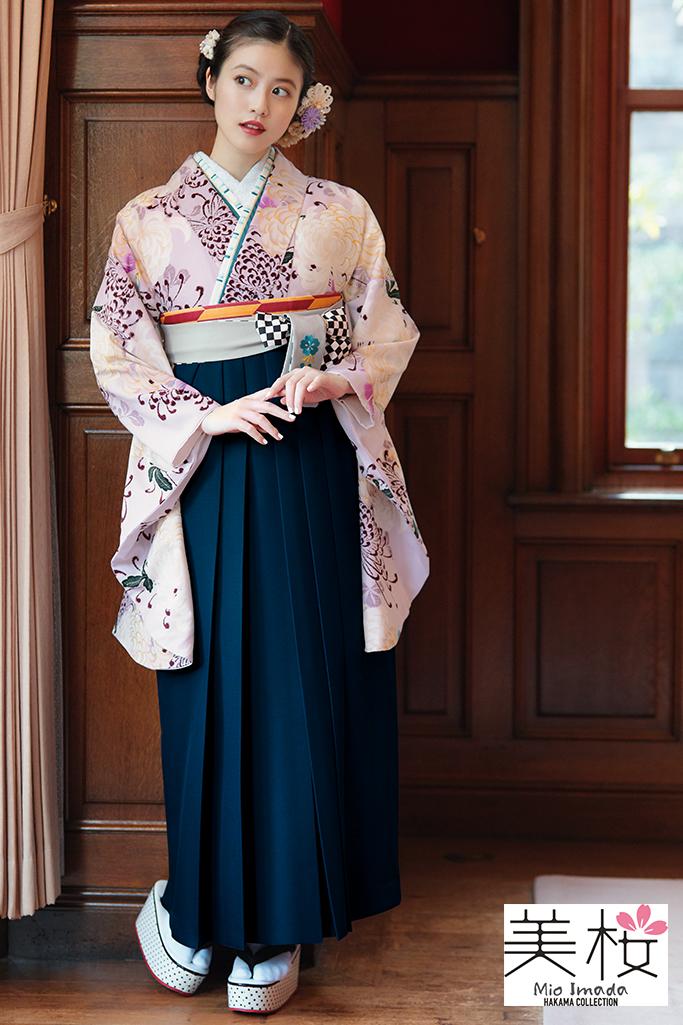 【卒業式袴レンタル/通販可】清楚かわいいアンティーク古典(今田美桜) くすみピンク K22038