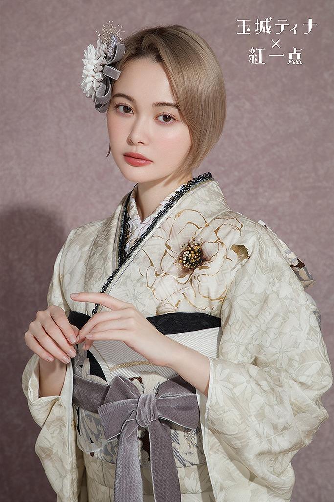 大人っぽい淡い色ヴィンテージレトロ(玉城ティナ×紅一点) 白/グレー K293