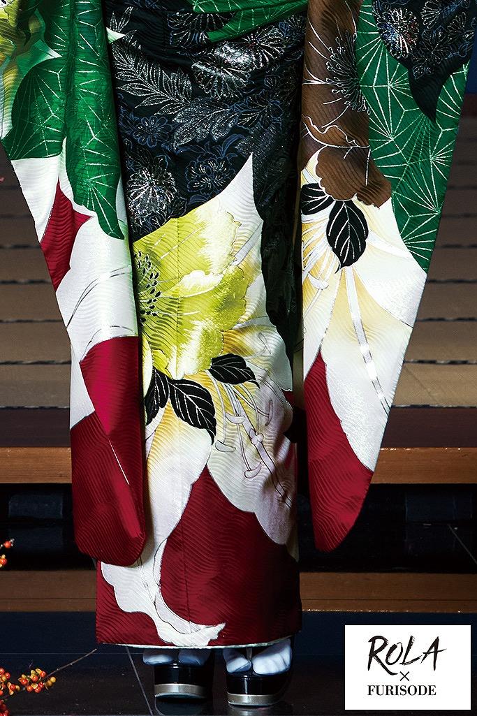 豪華百合柄華やか人気古典(ローラ) ワインレッド/グリーン(緑色) K331