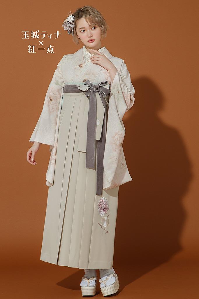 【卒業式袴レンタル/通販可】くすみカラーおしゃれレトロ(玉城ティナ×紅一点) ベージュ R22018