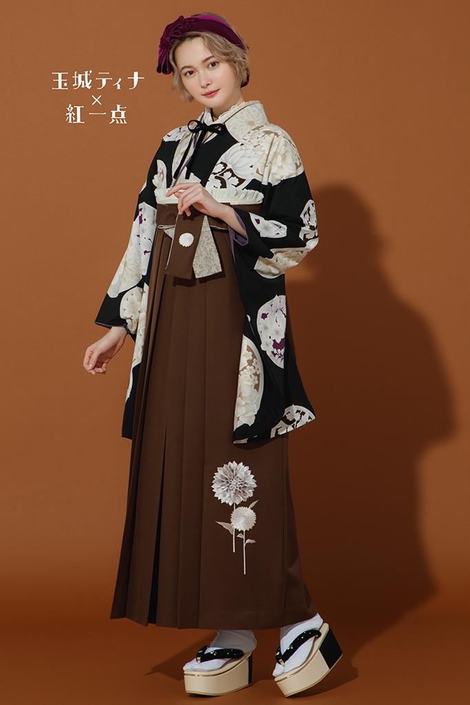 【卒業式袴レンタル/通販可】アンティーク調レトロ(玉城ティナ×紅一点) 黒/ベージュ R22020
