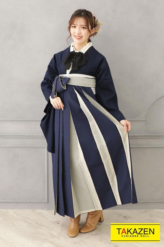 【卒業式袴レンタル/通販可】かわいいレース着物(アンティーク調) 紺/ネイビー ★RY136