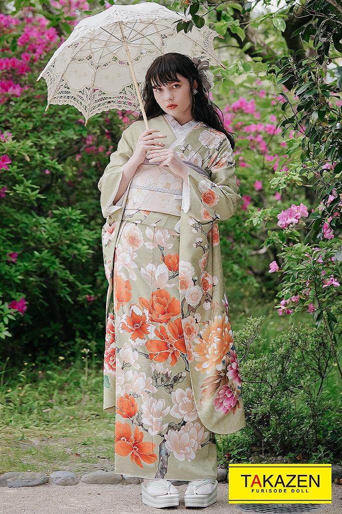 流行のくすみカラー振袖個性的な着こなし古典2022年新作(coto made) くすみグリーン/グリーン(鶸色)/オレンジ K327