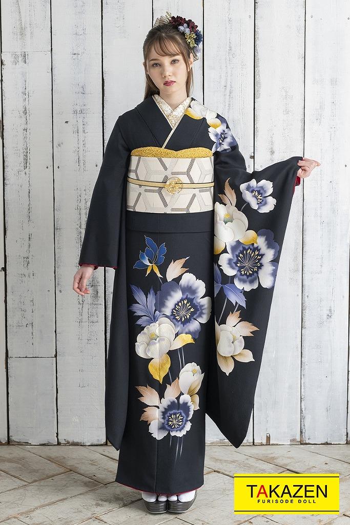 おしとやかシンプルヴィンテージ(東京レトロ×マーシュ彩) 黒/ブルー(青色) K342