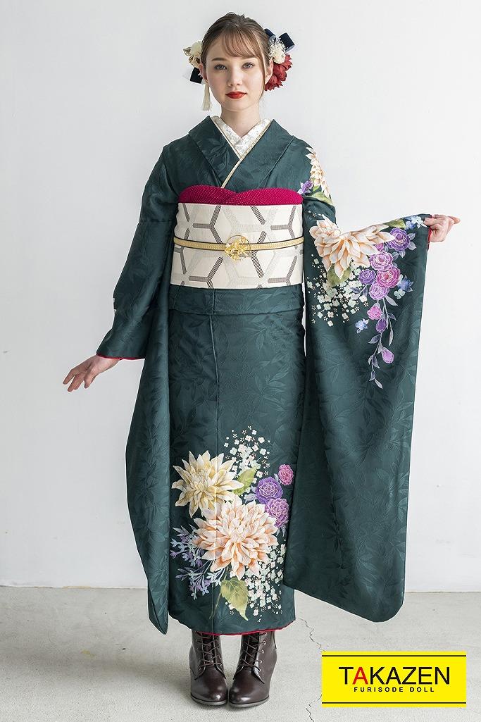 ノスタルジック大人っぽいレトロモダン(東京レトロ×マーシュ彩) グリーン(緑色) K347