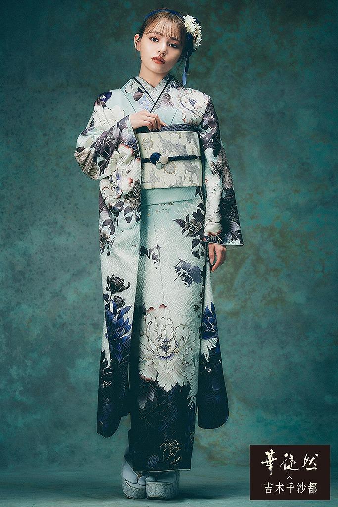 淡い色流行りのくすみカラー古典(華徒然×吉木千沙都) くすみブルー(青色) K370
