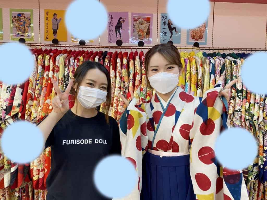 【TAKAZEN神戸店】♡16日 レトロな小振袖に紺色袴のオシャレ袴姫ちゃん♡