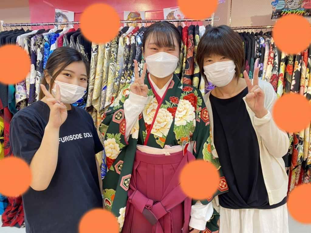 【TAKAZEN神戸店】♡14日 緑×エンジグラデーションの大人気の古典柄☆大人っぽい袴姫ちゃん